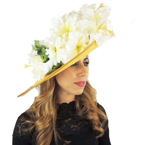 2019 Gold & Cream Iris Ascot Hat 105