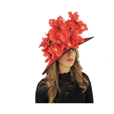 Red Iris Flower Large Ascot Hat