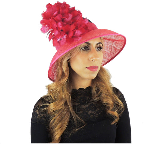 Navy & Fuchsia Pink Floral Ascot Hat