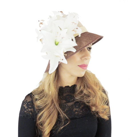 Ivory Beige & Chocolate Brown Ascot Hat