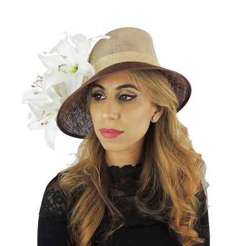 2019 Ivory Beige & Chocolate Brown Ascot Hat 109