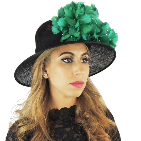 Black & Jade Flowers Ascot Hat