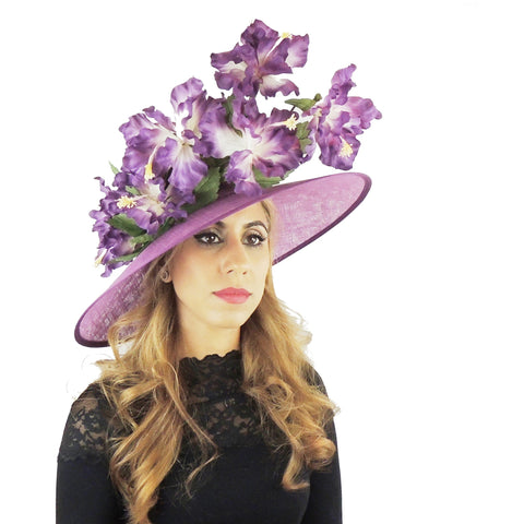 Purple Iris Floral Large Ascot Hat - Hats By Cressida