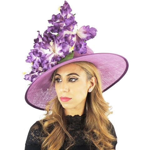 Purple Iris Floral Large Ascot Hat