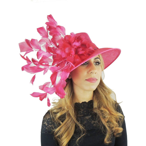 Fuchsia Feather Flower Ascot Hat