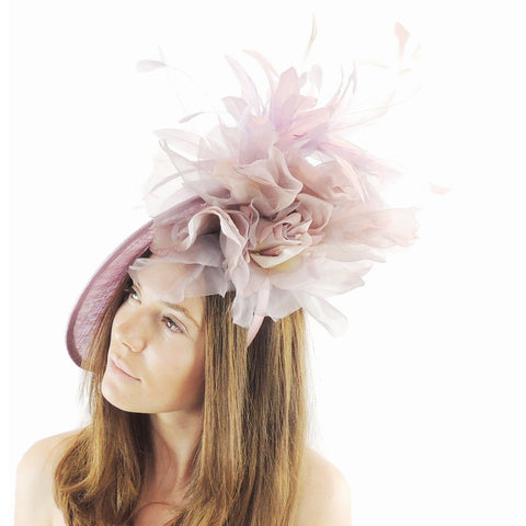 Ariel Feather Silk Flower Saucer Fascinator
