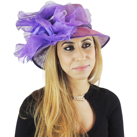 Purple Silk Flower Small Ascot Hat 58