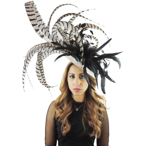 Cinna Pheasant Tail Feather Large Fascinator - Hats By Cressida