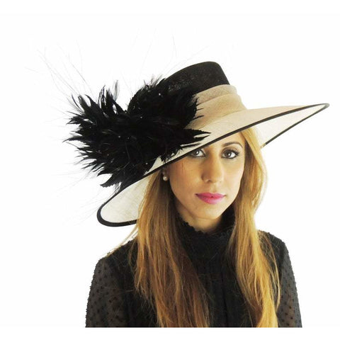 Cream & Black Ascot Kentucky Derby Hat 12