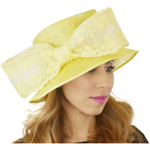 Yellow Lace Ascot Kentucky Derby Hat 84