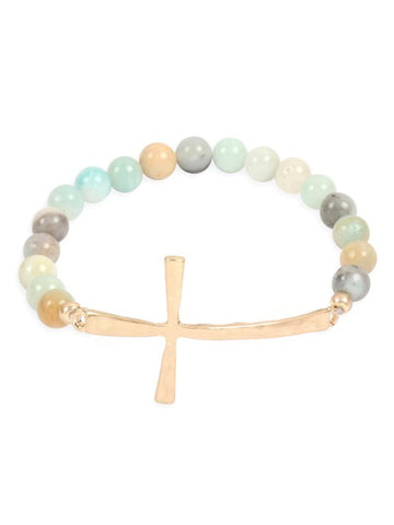 Amazonite Cross Stretch Bracelets