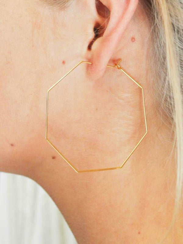 Gold Plated Octagon Hoops