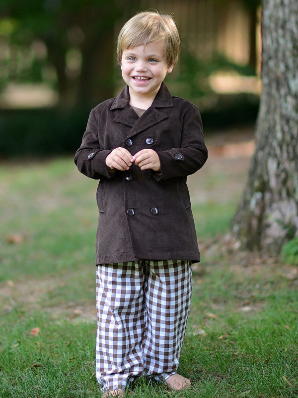 Boys Brown Corduroy Coat