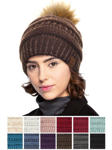 CC Pom Pom Cable Knit Metallic Beanie