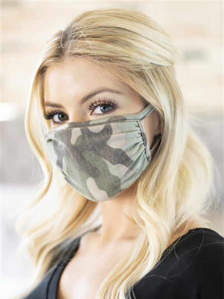 Moss Green Camo Face Mask