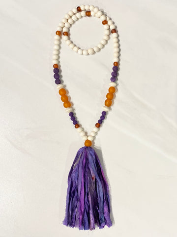 Clemson Tassel Necklace