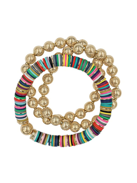 Colorful Rubber & Gold Beaded Bracelets