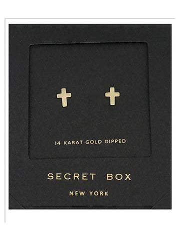 Secret Box Cross Stud Earring