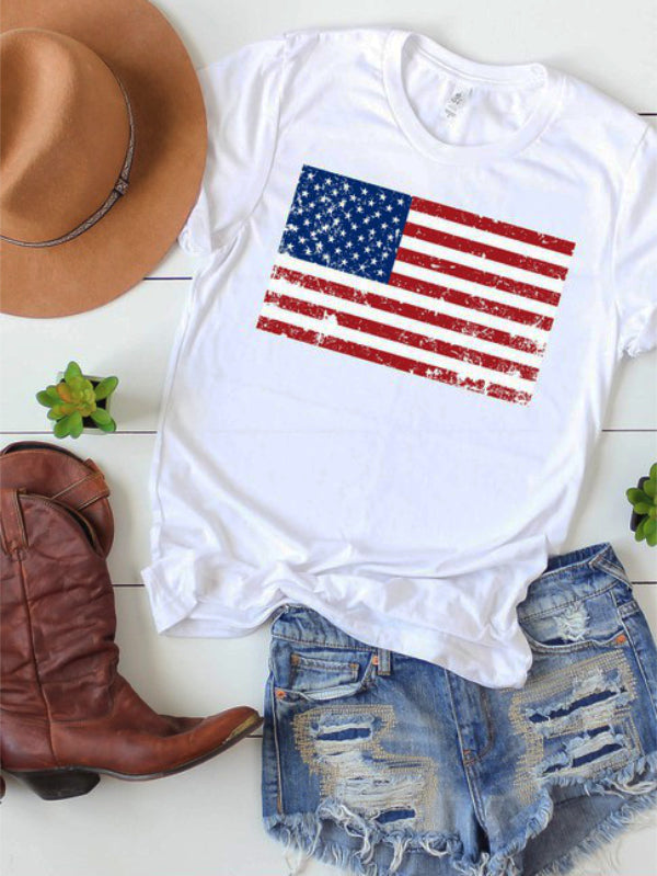 Distressed American Flag Graphic Tee
