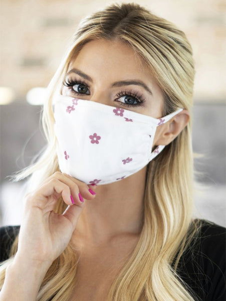 Mauve Flower Print Face Mask