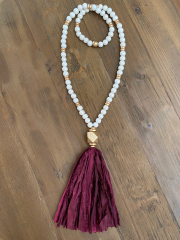 Garnet Tassel Necklace