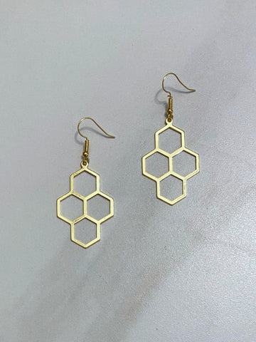 Gold Plated Honeycomb Earrings