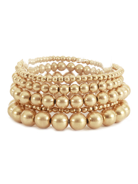 Gold Ball Bead Bracelet Set of 5
