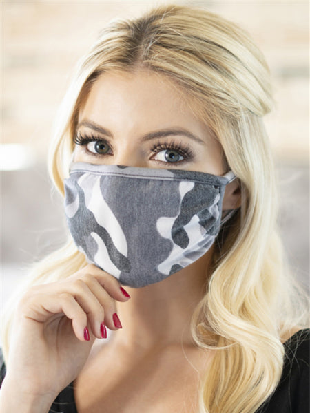 Gray Camo Face Mask