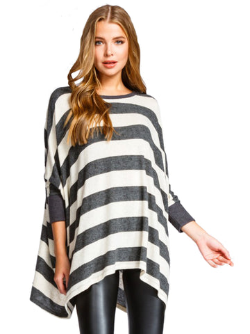 Love Somebody Stripe Poncho