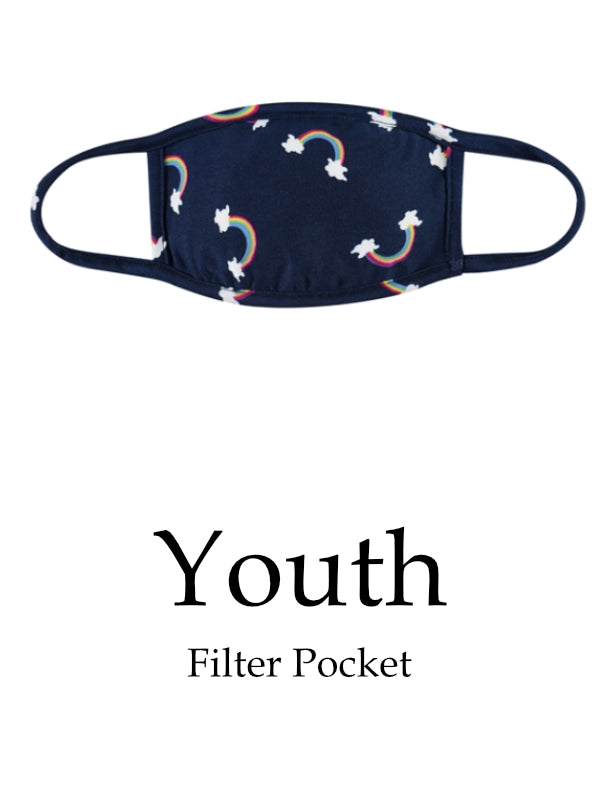 Youth Rainbow Face Mask with Filter Pocket