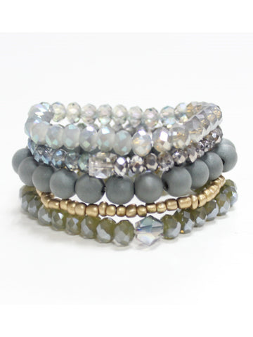 Stack it! Set of Five Stretch Bracelets
