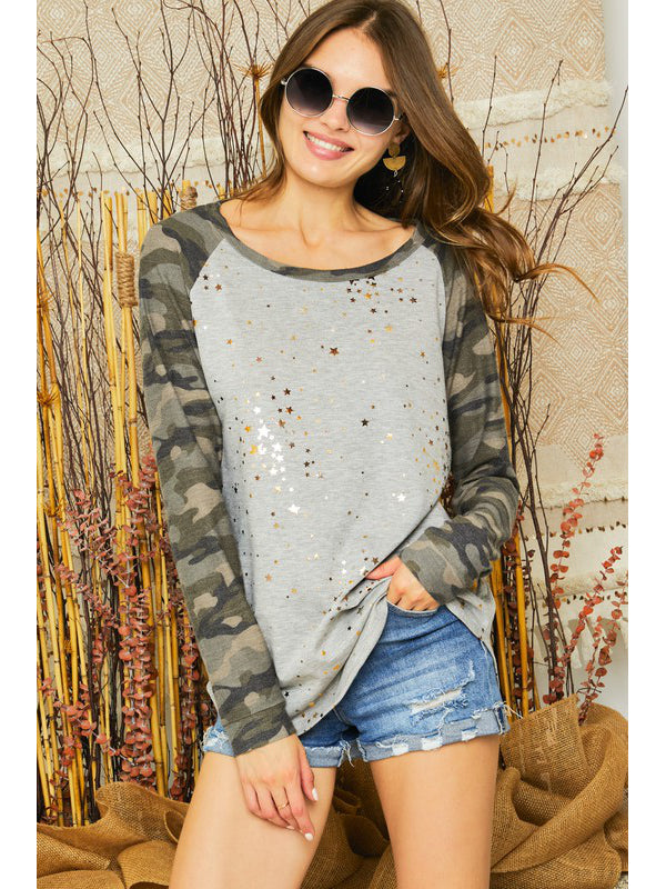 The Camo Metallic Star Top