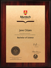 Load image into Gallery viewer, Murdoch University Plaque Rosewood