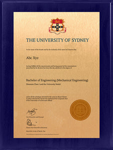 University of Sydney Plaque Sapphire