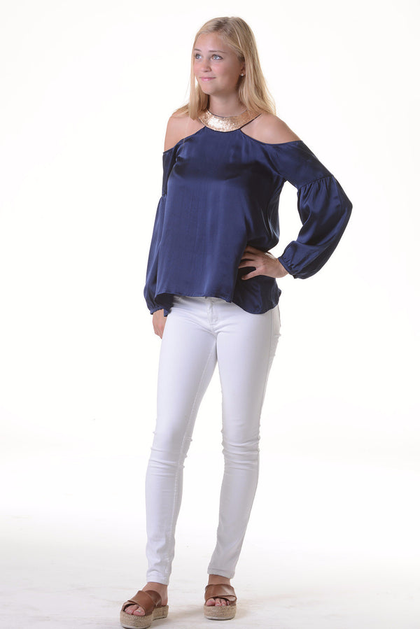 Monaco Top / Navy Silk