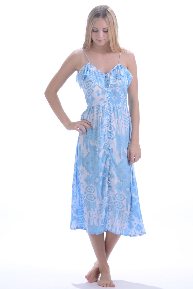 Carly Dress / Turquoise Ikat