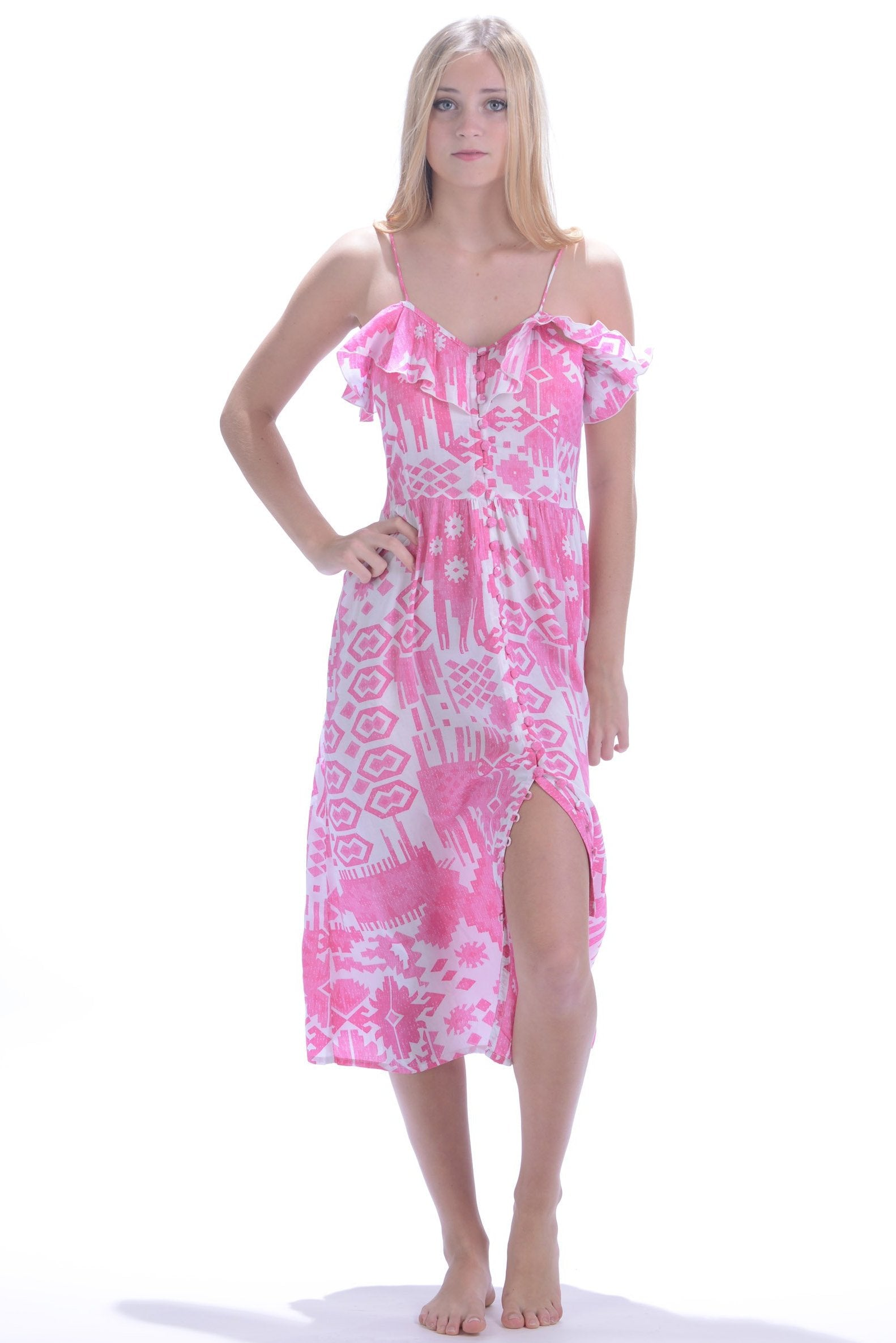 Carly Dress / Hot Pink Ikat – walker&wade