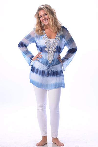 Indian Silk Tunic / Sky Blue Tie Dye