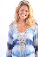 Indian Silk Tunic / Blue Tie Dye