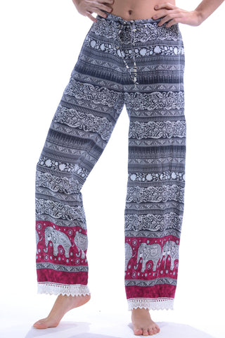 Lace Trim Lounge Pants / Magenta Elephant