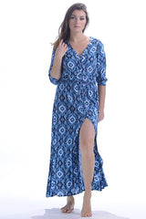 Kelsey Dress / Navy Ikat