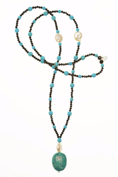 Freshwater Pearl w/ Turquoise Pendant / Black Crystals