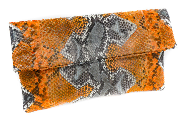 Snakeskin Clutch / Orange