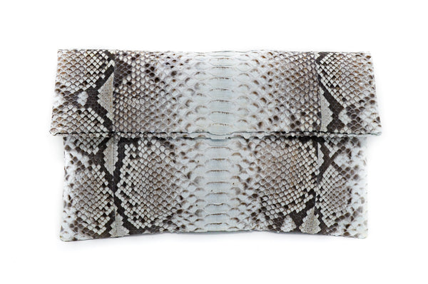 Snakeskin Clutch / Bone