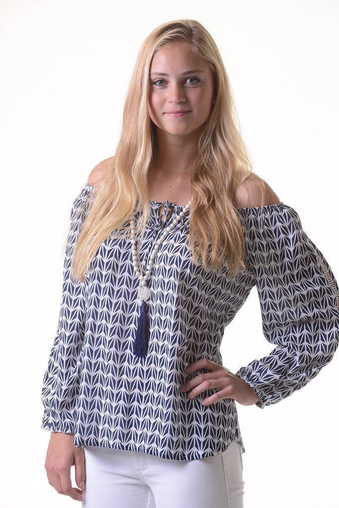 Peasant Top / Navy Geometric