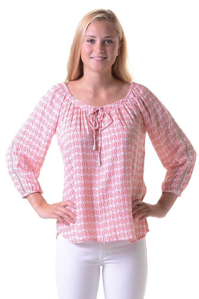 Peasant Top / Coral Geometric
