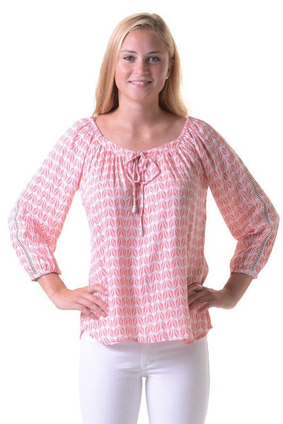 Peasant Blouse / Coral Geometric