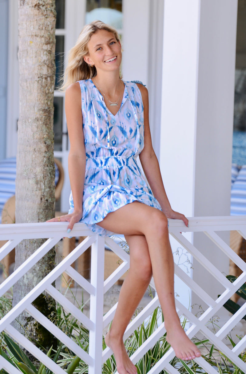 Kaylee Dress / Ocean Ikat