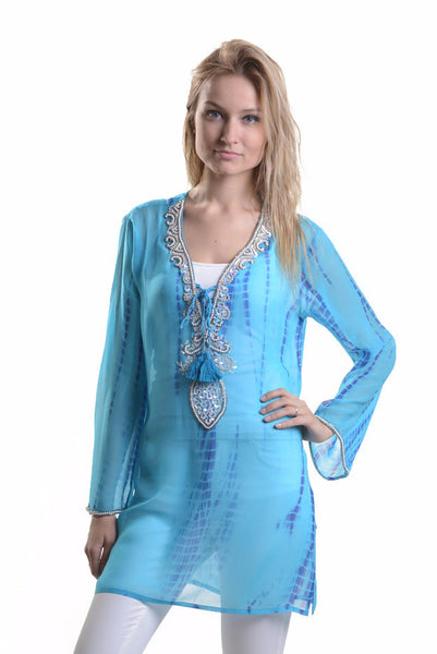 Indian Silk Tunic / Blue Lagoon