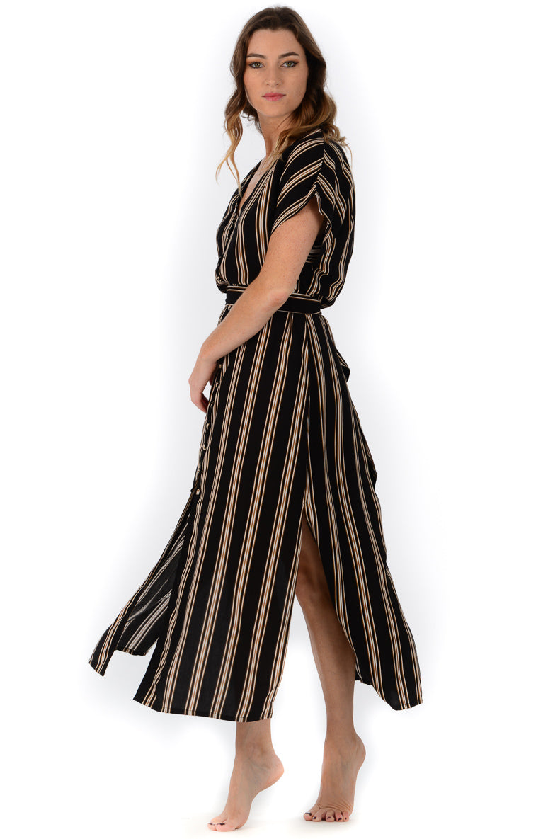 Charlotte Dress / Black Stripe